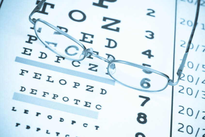Eye Glasses on Vision Test